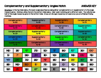 Complementary and Supplementary Angles Match and Color