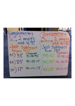 Complementary and Supplementary Angles Notes (Whiteboard)