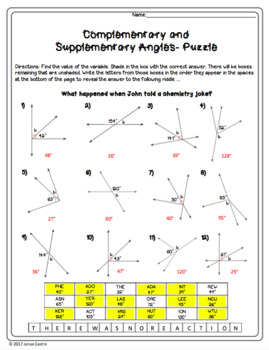 complementary and supplementary angles puzzle worksheet tpt. Black Bedroom Furniture Sets. Home Design Ideas