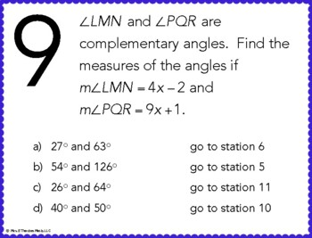 Complementary and Supplementary Angles Stations Maze