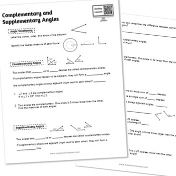 Complementary and Supplementary Angles Study Guide