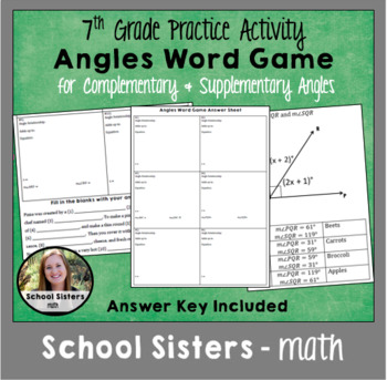 Complementary and Supplementary Angles Word Game