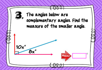 Complementary and Supplementary Angles with BOOM Cards Digital 1:1
