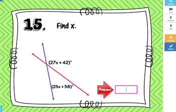 Complementary Supplementary Angles with BOOM Cards Digital 1:1 Distance Learning