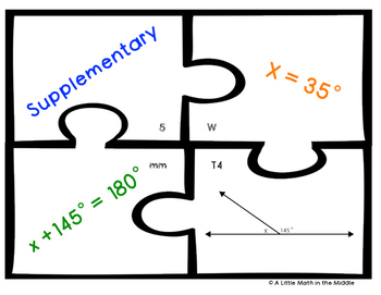 Complementary and Supplementary Angles with One Step Equations TEKS 6.10A