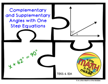 Complementary and Supplementary Angles with One Step Equat