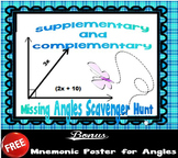 Complementary and Supplementary Missing Angles Scavenger Hunt