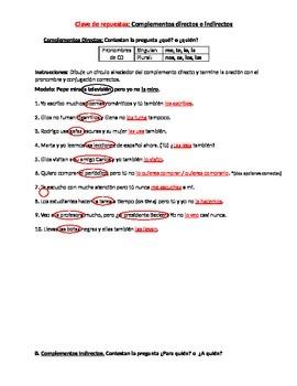 Complementos directos e indirectos worksheet
