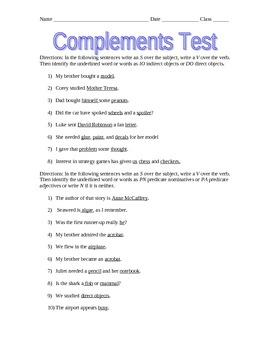 Complements Test