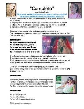 Completa Spanish Song Lyrics & FUN Activities - Corina Smith Biografia