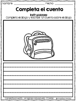 Back to School Spanish Writing - Completa el cuento - Regreso a la escuela FREE