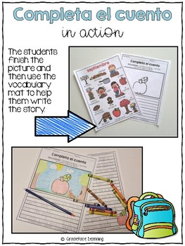 Back to School Spanish Writing - Completa el cuento - Regreso a la escuela