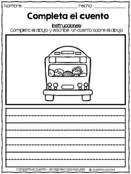 Back to School Spanish Writing - Completa el cuento - Regreso a la escuela