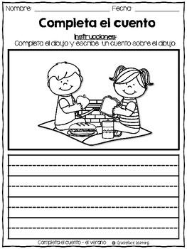 Summer Spanish Writing - Completa el cuento - Verano