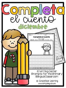 December Spanish Writing - Completa el cuento - diciembre