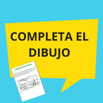 Completa el dibujo/ Complete the drawing in Spanish.