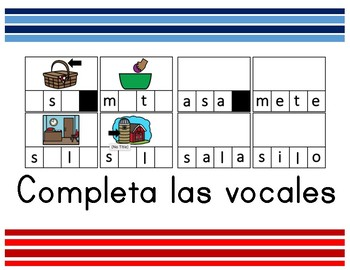 Completa las vocales centro palabras y sílabas - syllable center complete vowels
