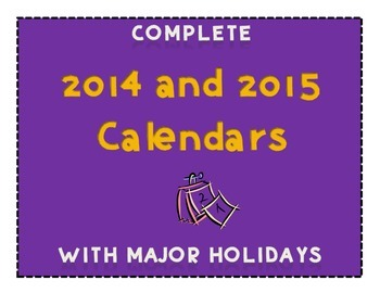 Complete 2014 and 2015 Calendars - FREEBIE