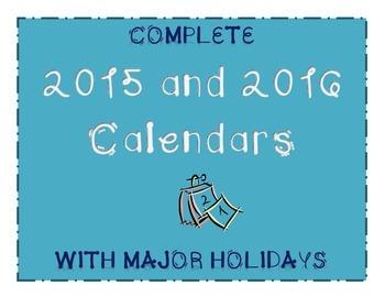 Complete 2015-2016 Calendar with Major Holidays (Editable