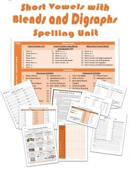 Complete 21 Week Spelling Unit on Short Vowels with Blends & Digraphs