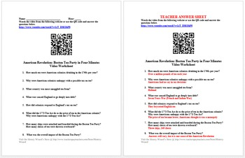 Complete 4 Minute American Revolution Video Worksheet Collection