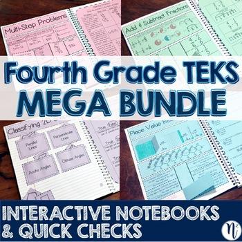 4th Grade TEKS Interactive Notebook Activities & Quick Check MEGA BUNDLE