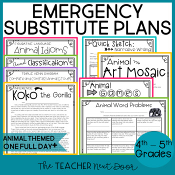 emergency substitute plans 4th 5th grade by the teacher next door. Black Bedroom Furniture Sets. Home Design Ideas