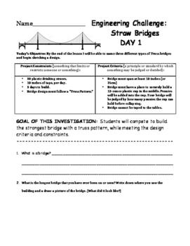 5-Day Lesson Sequence:  STEM Engineering Challenge - Straw Bridges