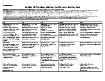 Complete 6 Week Unit Plan for Tuesdays with Morrie
