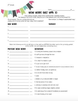 10-Week VOCAB Unit: 6th Grade