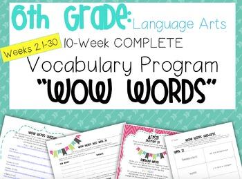 Complete 6th Grade Language Arts Vocabulary Program Weeks 21-30