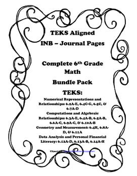 Complete 6th Grade Math INB Bundle Pack - 6th Grade TEKS