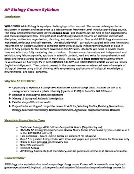 Complete College Board Accepted AP Biology Syllabus for 2013 Revised Course