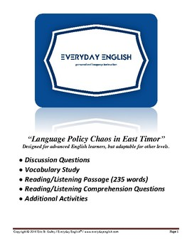 Complete Adult ESL Lesson (Language Policy Chaos in East Timor)