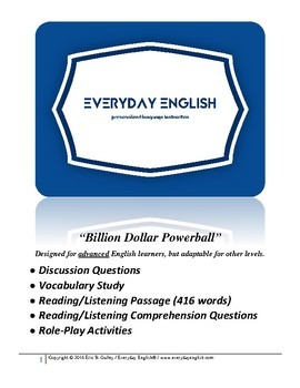 Complete Adult ESL Lesson (Billion Dollar Powerball)