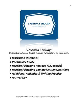 Complete Adult ESL Lesson (Decision Making)