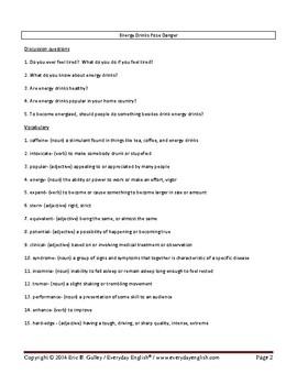 Complete Adult ESL Lesson (Energy Drinks Pose Danger)