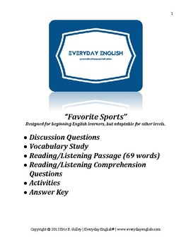 Complete Adult ESL Lesson (Favorite Sports)