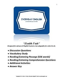 Complete Adult ESL Lesson (Health Fads)