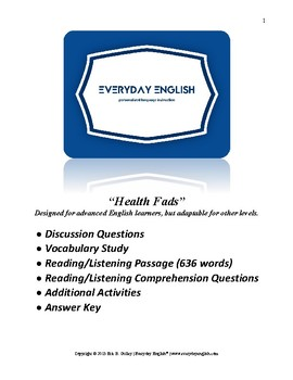 Complete Adult ESL Lesson (Health Fads)