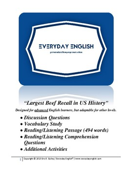 Complete Adult ESL Lesson (Largest Beef Recall in US History)