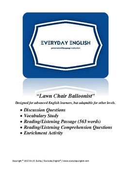 Complete Adult ESL Lesson (Lawn Chair Balloonist)
