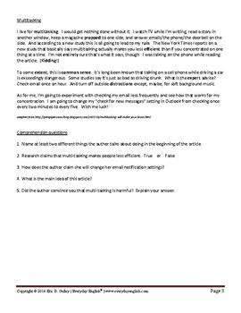 Complete Adult ESL Lesson (Multitasking)