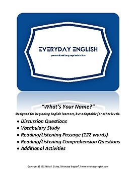 Complete Adult ESL Lesson (What's Your Name)