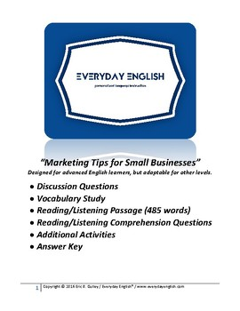 Complete Adult ESL Lesson (Marketing Tips for Small Businesses)