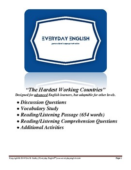 Complete Adult ESL Lesson (The Hardest Working Countries)