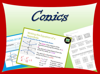 Complete Algebra 2 unit on Conics, with powerpoints