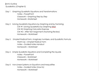 Complete Algebra 2 unit on quadratics with power point, assignments, and exam