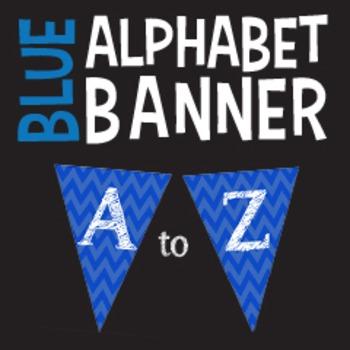 Complete Alphabet Blue Chevron Pennant Banners