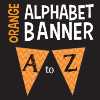 Complete Alphabet Orange Chevron Pennant Banner with Black Letters